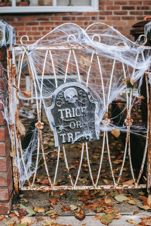 Metal fence decorated with web for Halloween