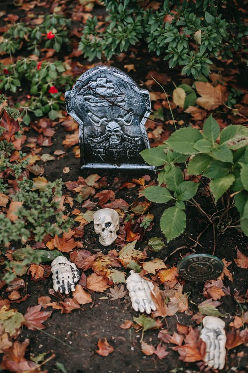 Yard with gravestone and skeletons for Halloween