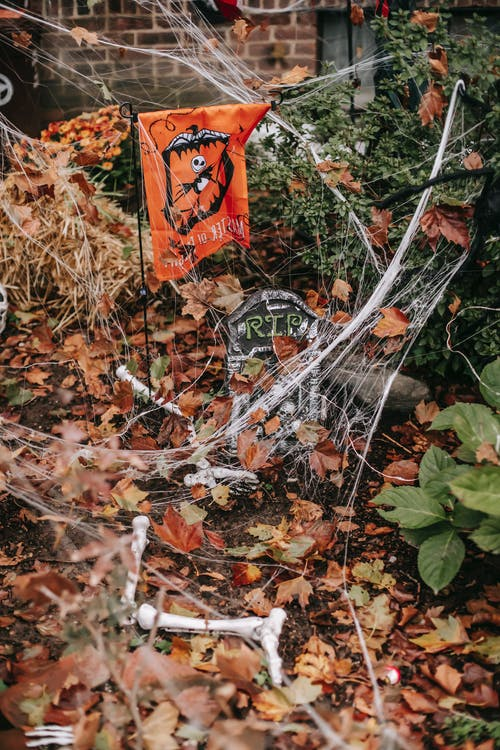Fake bones and grave in yard on Halloween