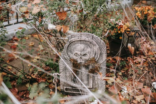 Decorations for Halloween with gravestone and web