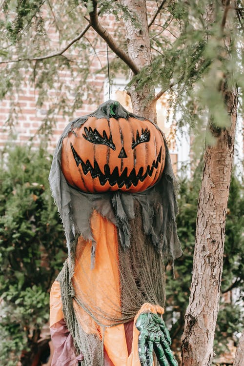 Halloween scarecrow placed on terrace
