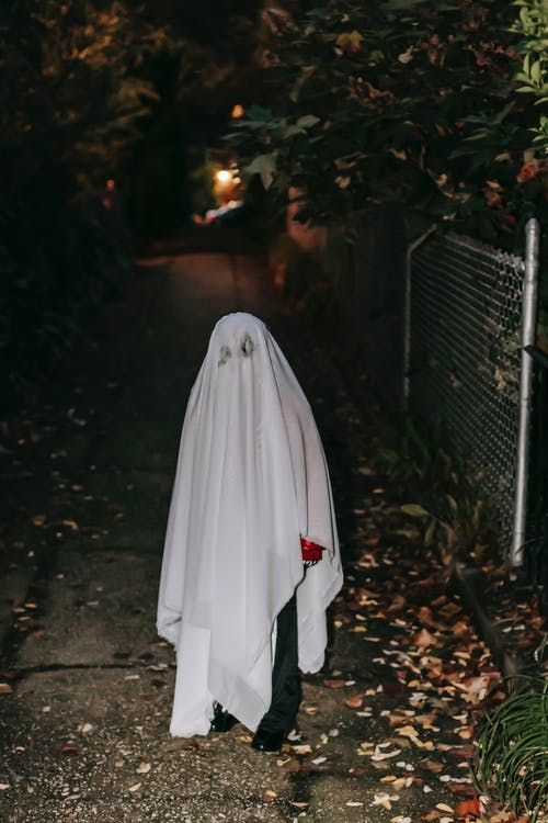 Anonymous child in scary ghost costume standing in empty dark pathway between gardens and looking at camera