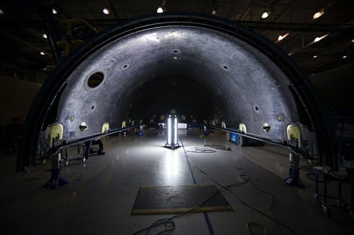 Arched tunnel in rocket assembly hangar