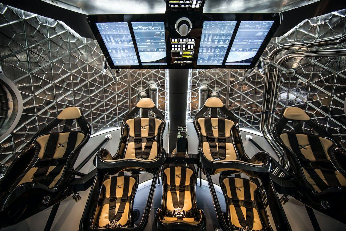 Futuristic interior of spaceship simulator for test flight mission