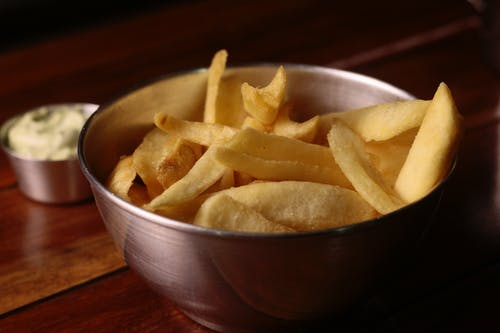 Potato Chips on Stainless Steel Bowl