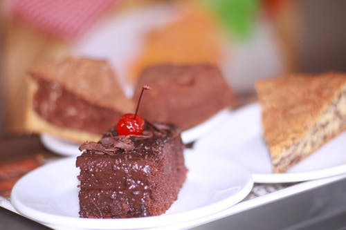 Chocolate Cake on White Ceramic Plate