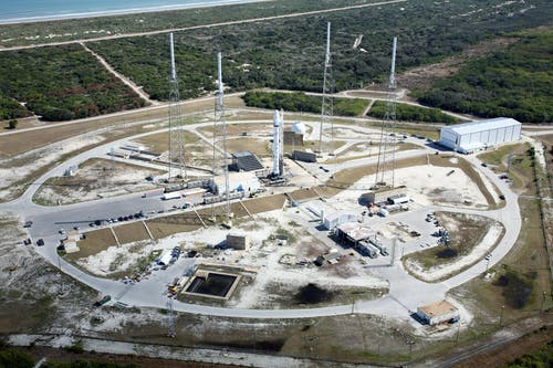 Spaceport ready to launch rocket on sunny day