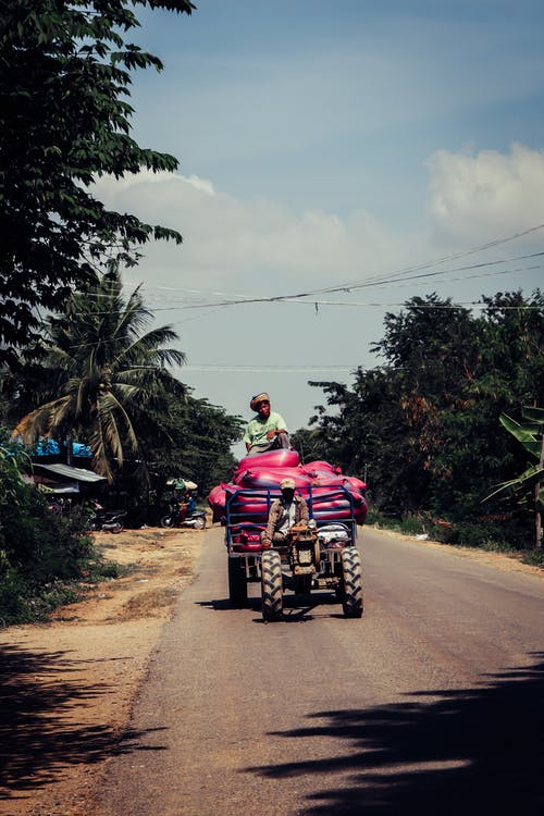 Man in Pink Shirt Riding on Red Motorcycle