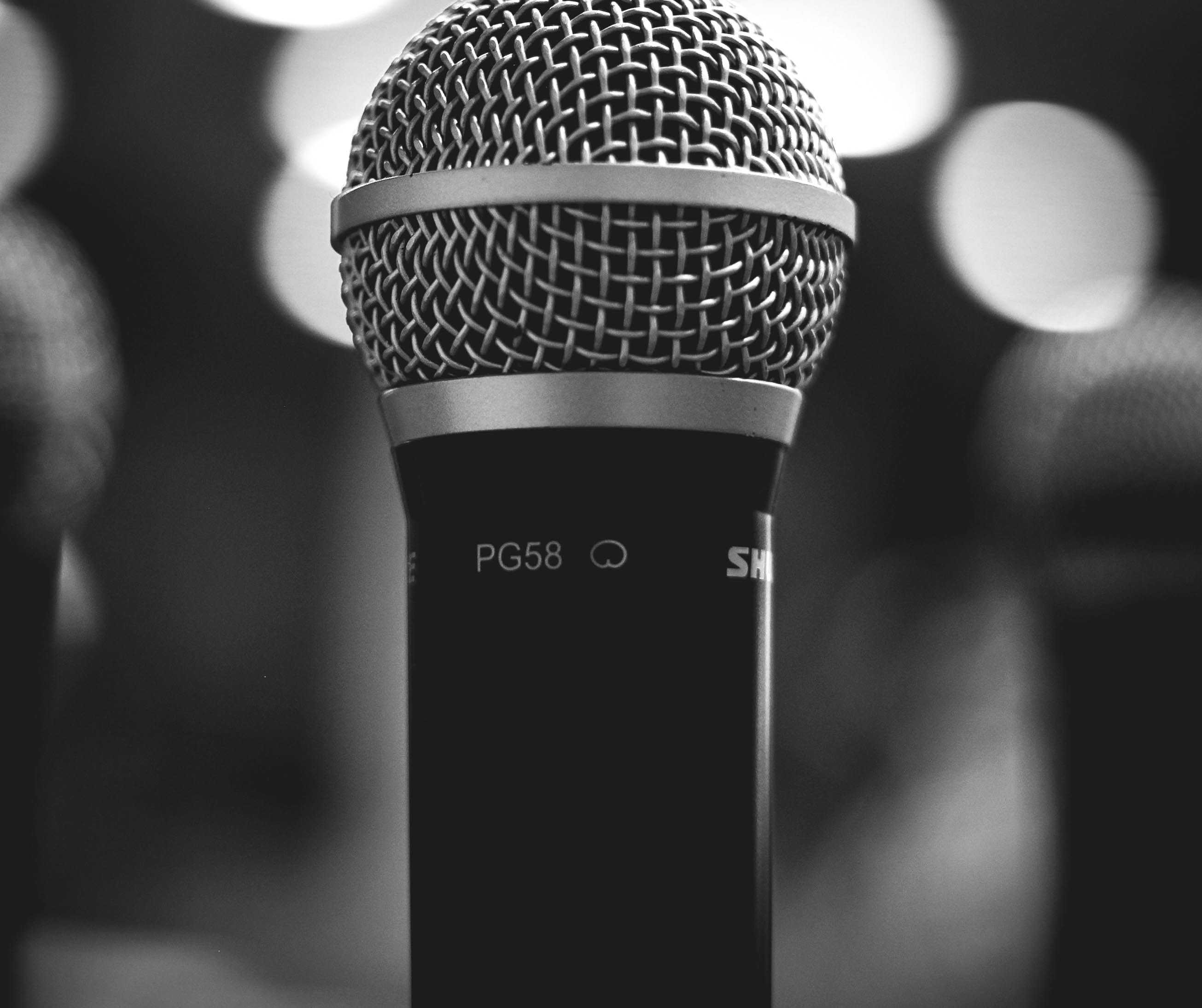 Greyscale Photo of Microphone