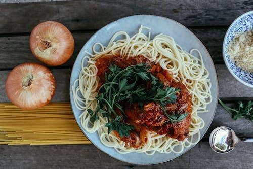 Spaghetti on Blue Ceramic Plate