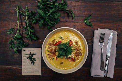 Soup Dish on White Ceramic Bowl