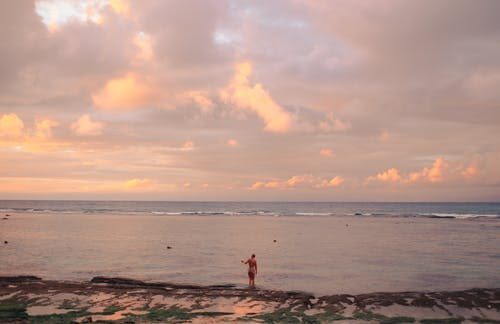 Person Standing on Beach during Sunset