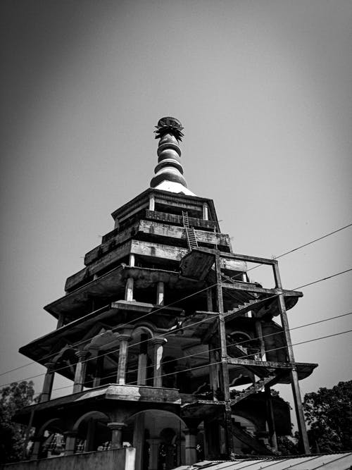 Free stock photo of architecture, architecture photography, b&w, buddhist temple