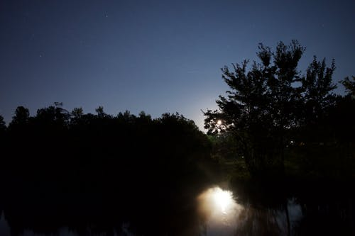 Free stock photo of astrophotography, full moon, long exposure, night lake
