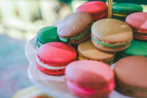 Tray Filled With French Macaroons