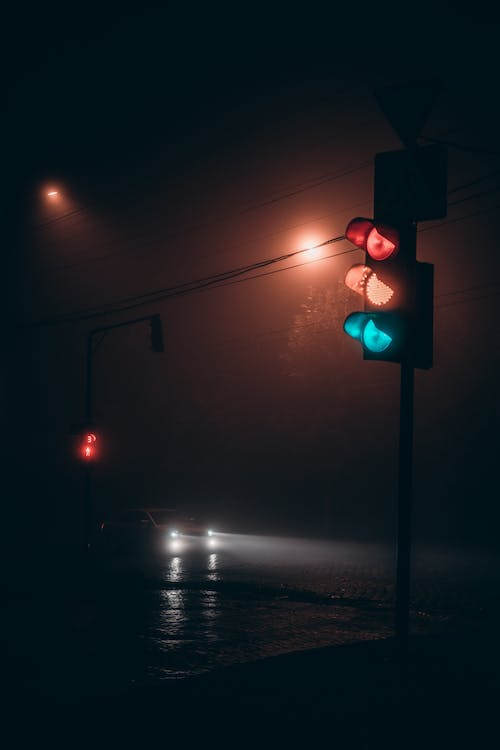 Traffic light in dark night city
