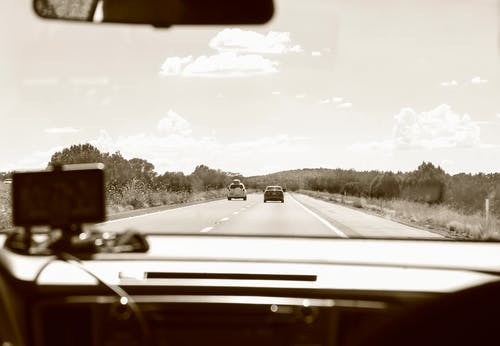 Black and white of car with navigator driving on straight roadway among plants during road trip