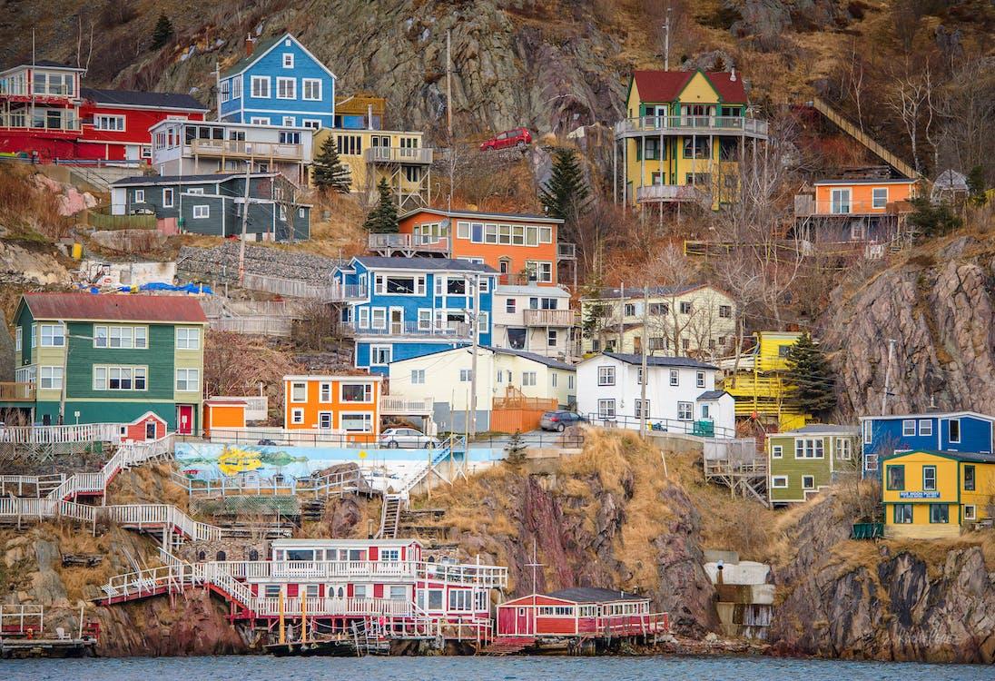 Бесплатное стоковое фото с батарея, ньюфаундленд, разноцветные дома