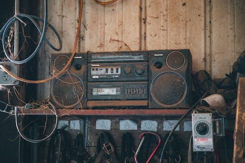 Retro cassette player in garage