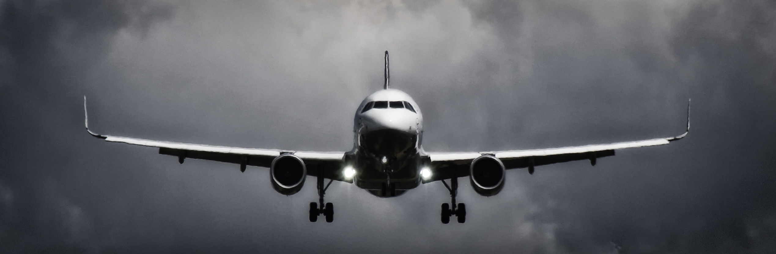 In Flight Airliner in Grayscale Photo