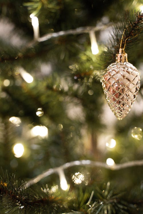Close Up Shot of a Silver Christmas Decoration