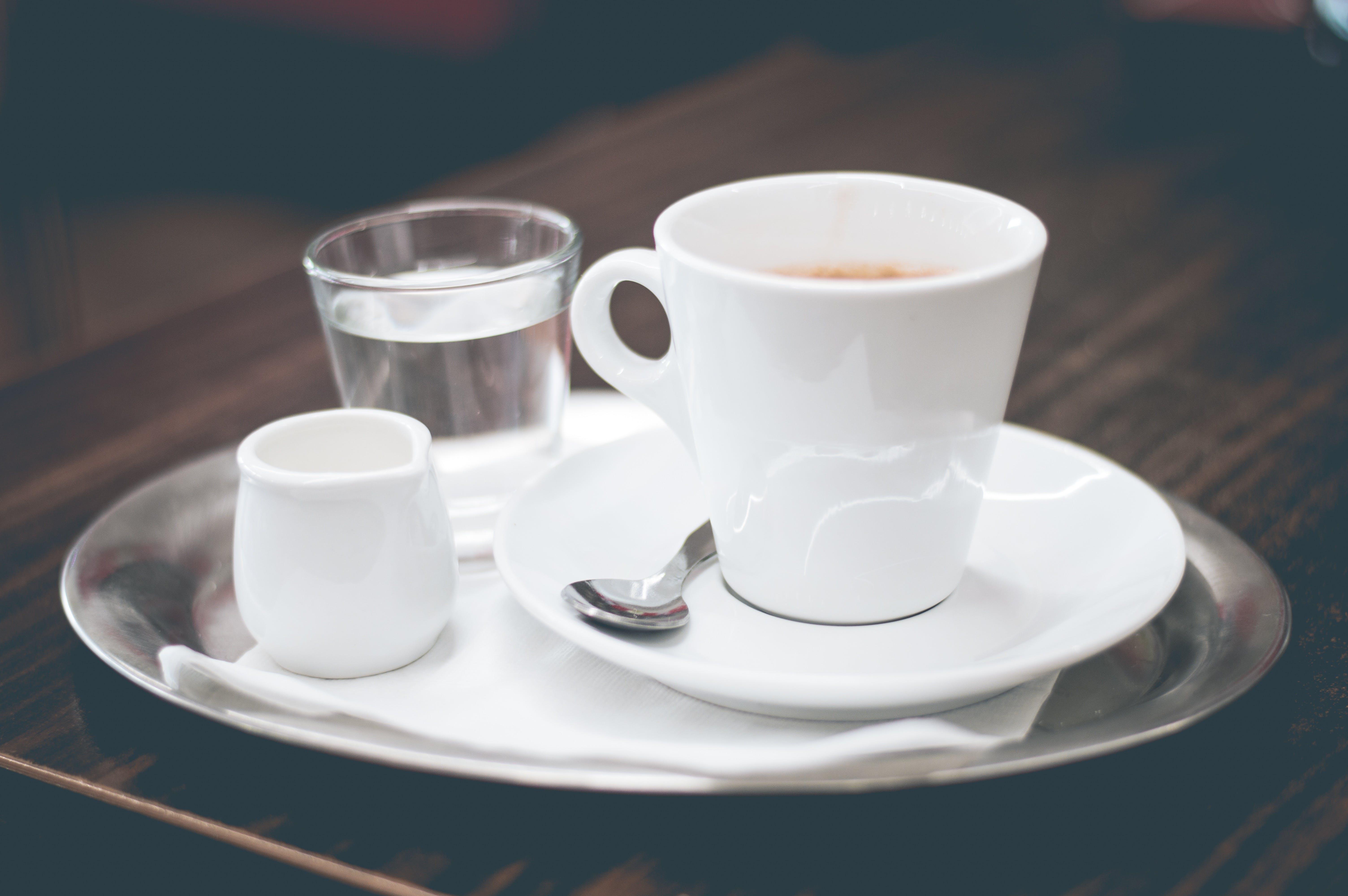 Základová fotografie zdarma na téma espreso, káva, utencils, voda