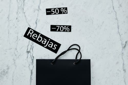 Black Paper Bag And Discount Tags