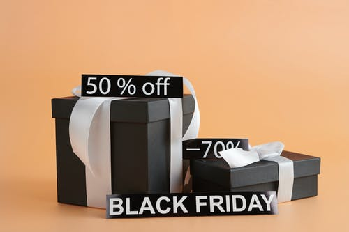 Black Gift Boxes With Discount Signs