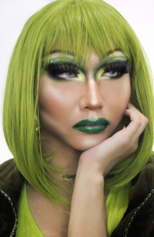 Woman With Green Lipstick and Green Lipstick