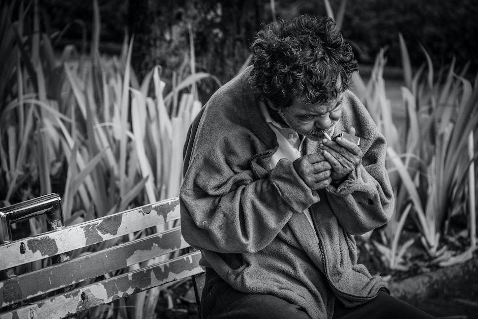 addiction, aged, bench