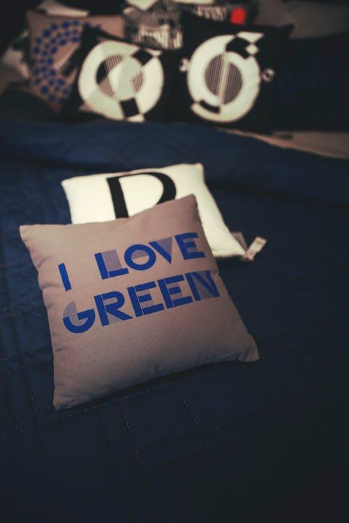 Immagine gratuita di cuscini, interni, letto, verde