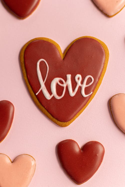 Love inscription on biscuits for Valentines Day