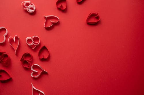 Paper hearts symbolizing love and Saint Valentine day