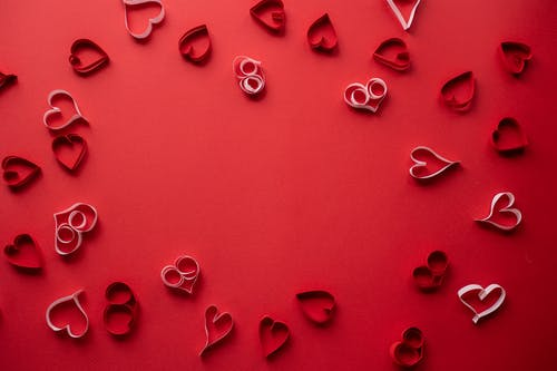 Hearts On A Red Surface