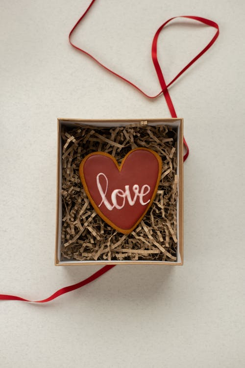 Heart shaped cookie in box