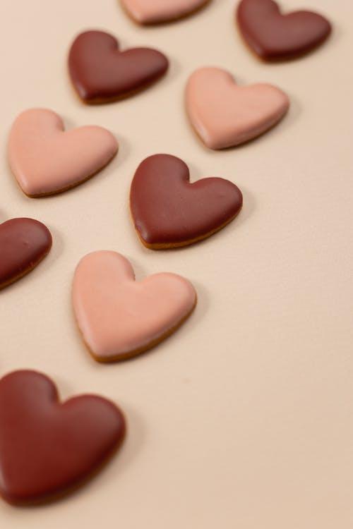 Arrangement of heart shaped cookies
