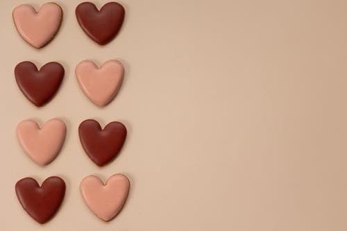 Arrangement of heart shaped candies