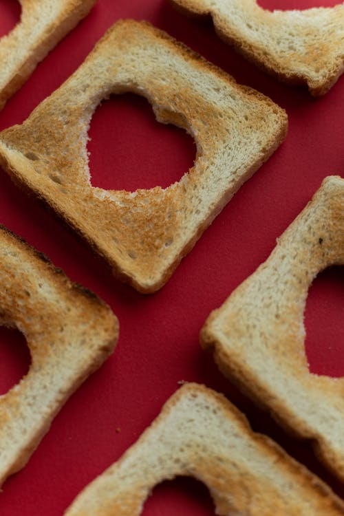 Parts of bread with heart cutous
