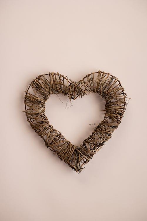 Linen heart on table in studio