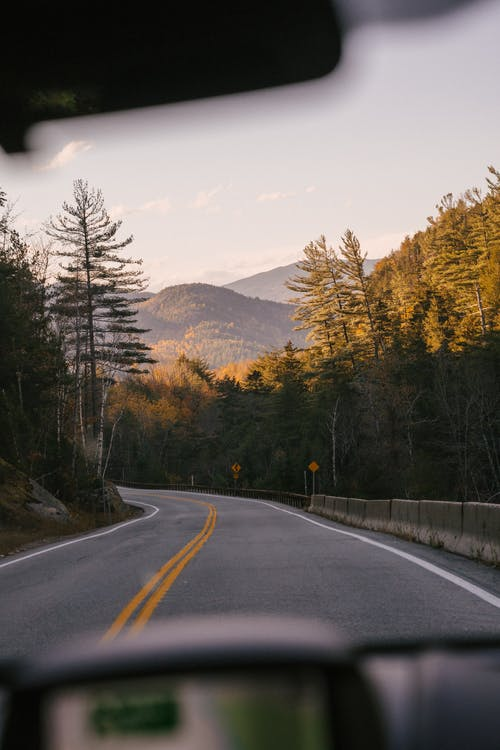 Through windshield glass of empty asphalt road going through forest with lush coniferous trees growing on mountainous countryside on sunny autumn day