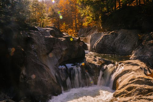 Waterfall flowing through rocks in forest