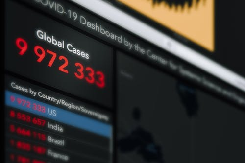 Dashboard screen with numbers in column reflecting information about global cases of coronavirus pandemic