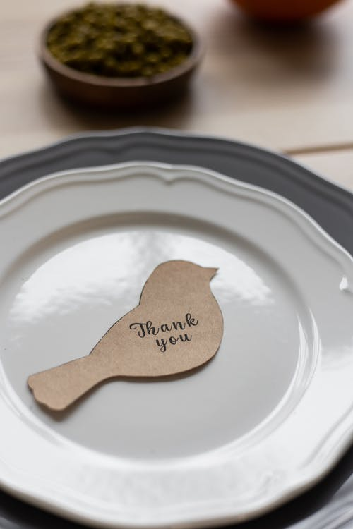 From above of carton postcard cutout in shape of bird with Thank You printed inscription placed on plate
