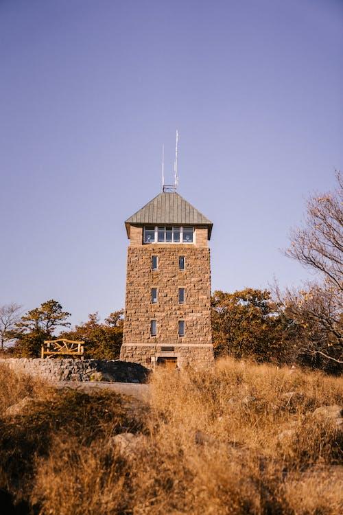 Маленькая башня возле осеннего леса