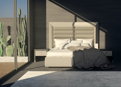 White Bed With Black and White Bed Linen