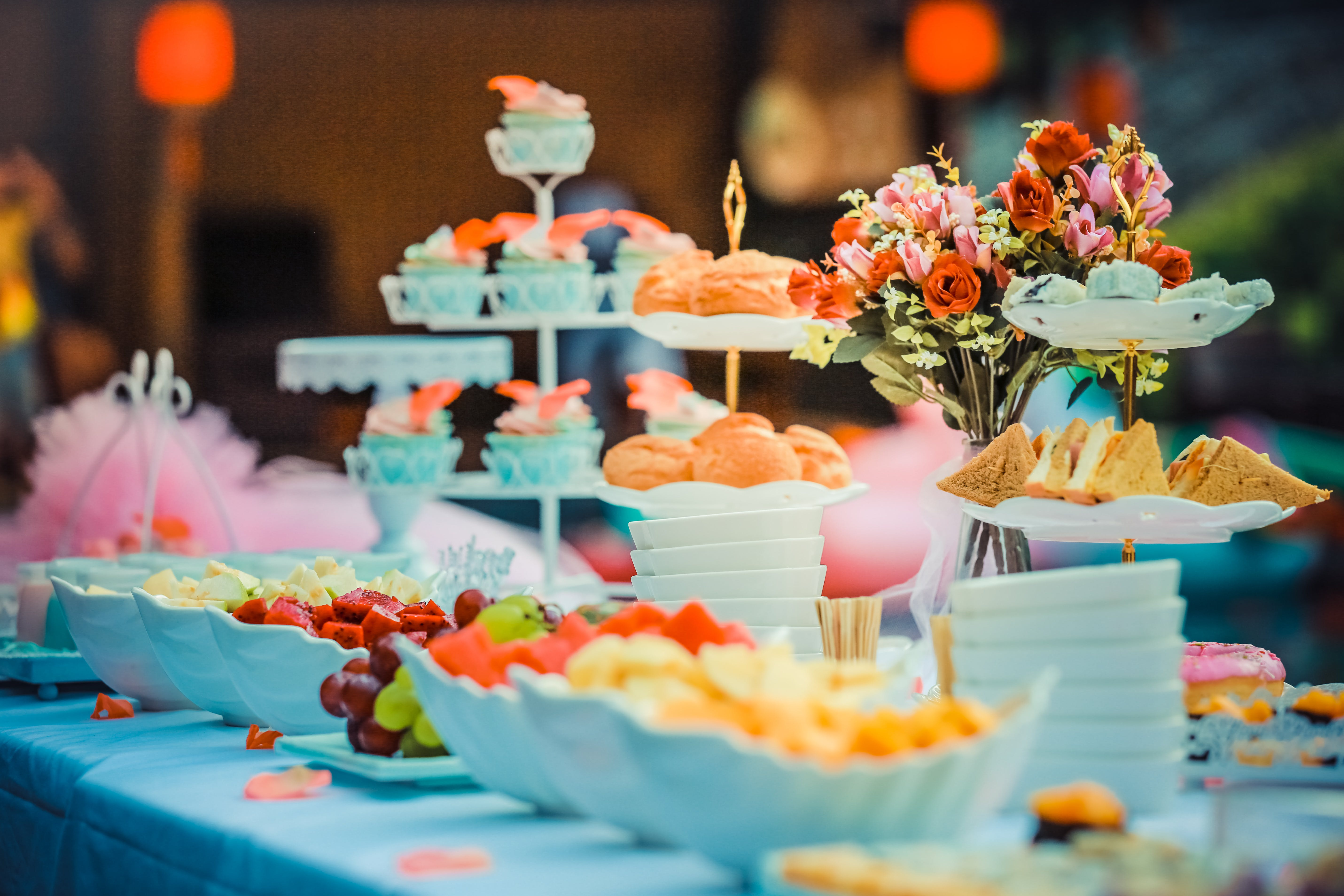 colorful, colourful, dessert table