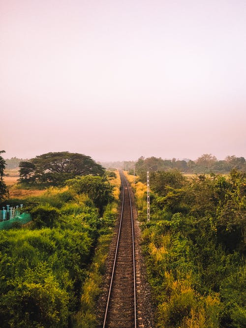 Perspective railway track running among lush greenery in rural area on cloudy day