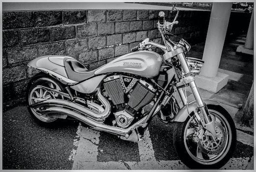 Free stock photo of black-and-white, street, vehicle, chrome