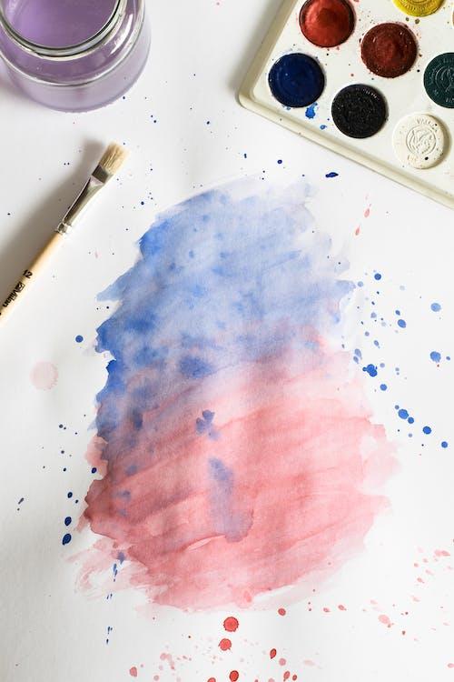 Pintura Em Aquarela Rosa E Azul