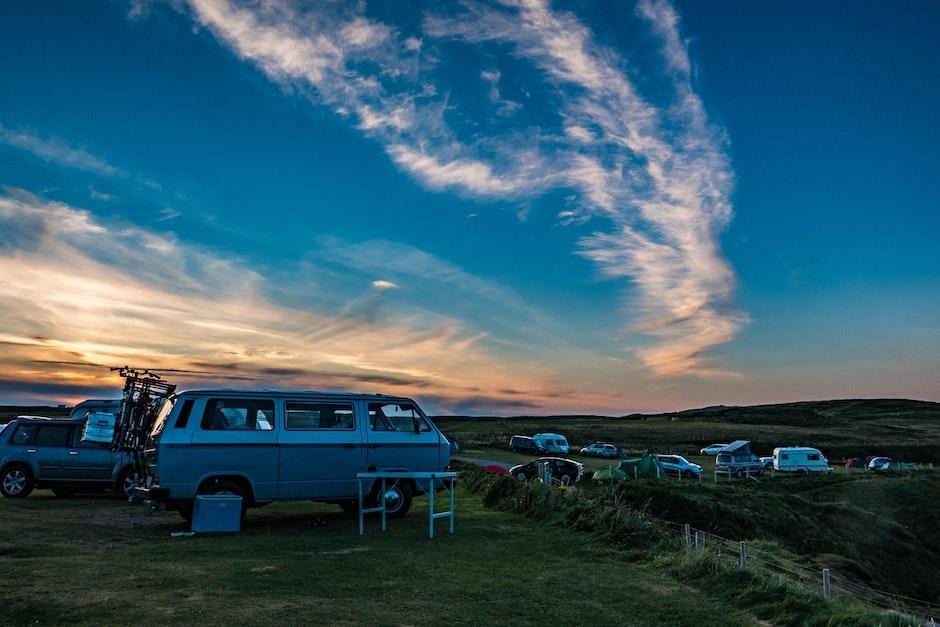 automobile, campervan, camping
